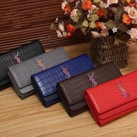 """Yves Saint Laurent YSL"" Women Fashion Crocodile Pattern Long Section Purse Button Three Fold Wallet Handbag"