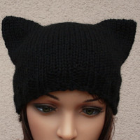 womens slouchy - beanie hat - Slouch Beanie - Large hat - Knit Winter Fall Accessories Knit hat -Cat in black.