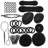 CREYONRZ 1Set Hairdressing DIY Hair Accessories Sponge Disk Hair Increased Pad Hair Pin Clip Rubber Band Professional Tools Braid Style