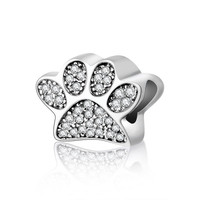 Authentic 925 Sterling Paw Silver Charm Pandora Style Bracelets With Cubic Zirconia Fashion Beads