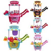 Simulation Small Cart Playing Medical Makeup Fruit Cut Tools Pretend Play Toys Funny Playhouse Home Baby Kids Toys Girls Gifts