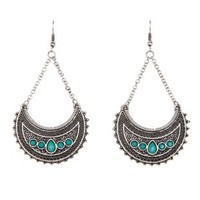 Silver Boho Jeweled Crescent Dangle Earrings by Charlotte Russe