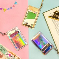 1pc Creative Hypnosis Laser Bright Color Leather Card Cover Bus Bank Id Card Case Holder with Rope Card Organizer