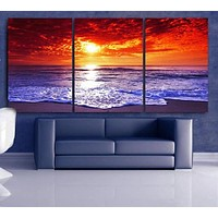 """LARGE 30""""x 60"""" 3 Panels Art Canvas Print Beach Sunset Wall (Included framed 1.5"""" depth)"""