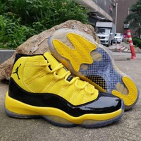 Hot Nike Air Jordan 11 Retro AJ11 Yellow Leather Basketball Shoes