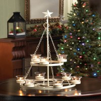 White Holiday Tree Candle Chandelier