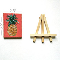 Petite Pineapple Painting w/ Pink Background and Golden Edges- Mini Canvas w/ Stand Included