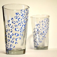 Blue and White Cheetah Print Pair  Made To by TwentyThreeSplit