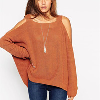 Cut-Out Sleeve Knitted Sweater
