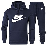 NIKE Autumn Winter Fashion Women Men Casual Hoodie Top Sweater Pants Trousers Set Two-Piece Navy Blue
