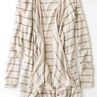 AEO Women's Feather Light Striped Open Cardigan