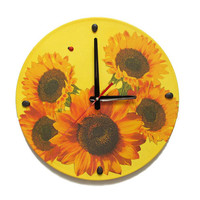 Wall Clock Sunflowers, unique gift, decorative wall clocks, unique wall clocks, clocks with flowers, kitchen wall clocks, kids wall clocks