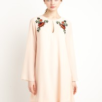 Peach Embroidered Floral Dress