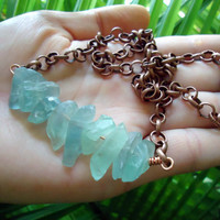 Green fluorite copper necklace - natural stone necklace - thick chain necklace - green gemstone necklace - BOHO necklace