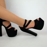 New Fashion Sexy Thick With 15 Cm Black High Heels Womens Peep Toe Sandals Platform Shoes For Sale Online