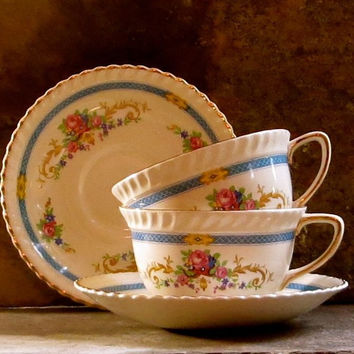 "Vintage Roses Tea Cups and Saucers, Johnson Brothers, England, Pair of Two, Blue and Pink ""Old English"" Pattern, Cottage Decor"