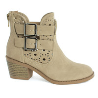 Jem2 Beige Pu By Soda, Girl's Ankle Booties On Block Stack Heel & Floral Cutout. Children Kids