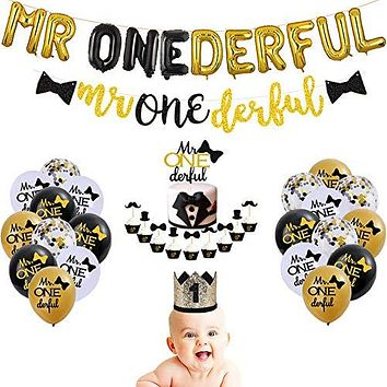 Mr Onederful 1st Birthday Decorations Glittery Wonderful Cake Cupcake Topper Mr Onederful Foil Balloons Birthday Crown for Little Man/Bow Tie 1st Birthday Boy Baby Shower Party Supplies Decorations