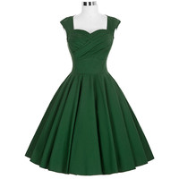 Fashion 2017 Party Wiggle Dresses Womens Summer Clothing Robe Rockabilly 1950s 60s Vintage Dress Audrey Hepburn Dresses Vestidos