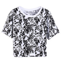 Black Tropical Print Short Sleeve Crop Tee