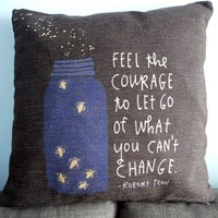 """Decorbox Black Cotton Linen Square Throw Pillow Case Decorative Cushion Cover Pillowcase Bottle and Firefly with Sayings 18 """"X18 """""""