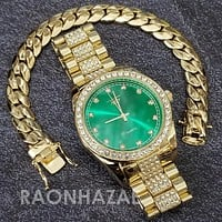 Raonhazae Hip Hop Iced Lab Diamond Drake 14K Gold Plated Watch with Miami Cuban Chain Set - GTX001