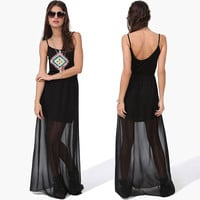 Black Halter Geometric Pattern Sheer  Chiffon Overlay Maxi Dress