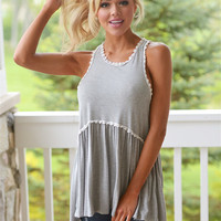 I Want It That Way Top - Heather Grey