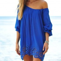 Coco Bay - Seafolly Satisfaction Beach Cover Up Kaftan in Lapis Blue - Buy this gorgeous cotton Seafolly Blue beach kaftan at Coco Bay - Women's Swimwear and Seafolly bikinis - Designer Beachwear for Women - Free UK Returns