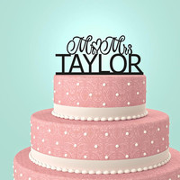 Personalized Custom Mr & Mrs Wedding Cake Topper with YOUR Last Name.