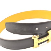Authentic HERMES Ladies Leather Black Belt Size 57 60473