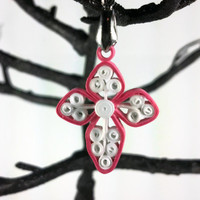 Paper Quilled Pink Cross Pendant - quilling jewelry, quilled cross pendant, Christian jewelry, religious pendant, pink cross, unique cross