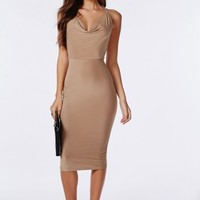 Missguided - Slinky Cowl Front Midi Dress Taupe