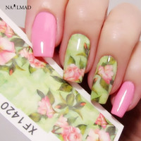1 sheet  Nail Water Decals Chic Floral Transfer Stickers Flowers Nail Art Sticker Tattoo Decals