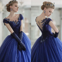Scoop Neckline Royal Blue Shiny Snow Tulle Gorgeous Princess Long Prom Dresses Sleeveless Ball Gown Embroider Evening Dress