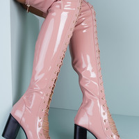 Abril Peep Toe Lace Up Heeled Boots - Pink