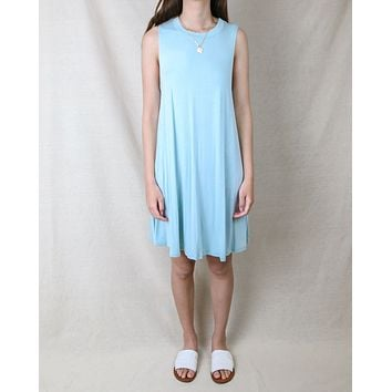 Basic Sleeveless Swingy Tank Dress in Mint