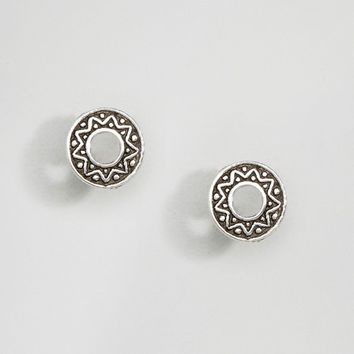 Kingsley Ryan Sterling Silver Etched Round Stud Earrings at asos.com