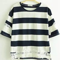 Navy Blue and White Short Sleeve Striped Lace Shirt