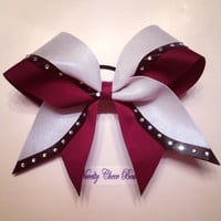 Maroon, White and Black Rhinestone Cheer Bow Maroon Center