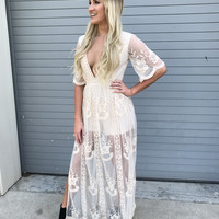 Natural Lace Maxi Dress