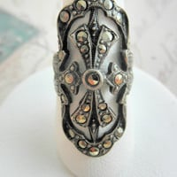 Vintage Sterling Silver Long Marcasite Ring Size 4