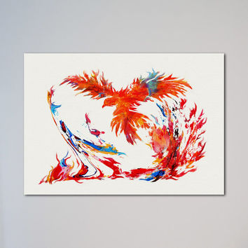 Phoenix Poster Watercolor Print Art Picture Illustration Animal Bird Flying Fire Phoenix