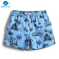 Men's bathing suit board shorts joggers hawaiian bermudas beach shorts sexy swimwear plavky liner swimsuit printed surfboard