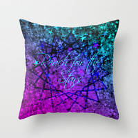REACH FOR THE STARS Bold Midnight Blue Purple, Galactic Stars Space Abstract Fine Art Painting Throw Pillow by EbiEmporium