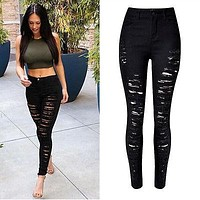 High Waist Skinny Ripped Jeans Denim Trousers Fashion Pencil Women Pants Women Destroy Leg Ripped Hole Distressed Pants new