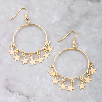 Hanging Stars Hoop Earrings