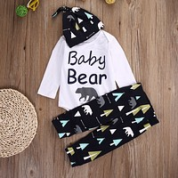 Newborn Baby Girls Boy Clothes Set Bear Long Sleeve Romper Pants Hat 3pcs Outfits Clothing Set