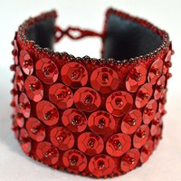 Red Sequin Cuff Bracelet