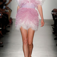 Ostrich Feather Cocktail Dress With Pleated Tulle Waistband | Moda Operandi